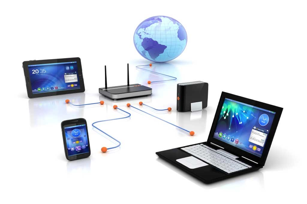 شبکه کامپیوتری متصل به دستگاه های الکترونیکی