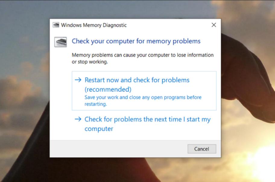 روش Windows Memory Diagnostic در تست سخت افزار کامپیوتر